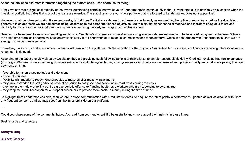 Lendermarket response