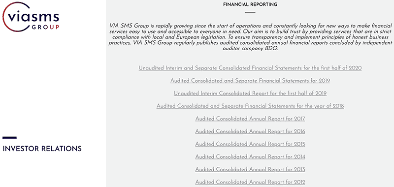 via sms financial statements