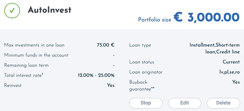 Viainvest auto invest settings