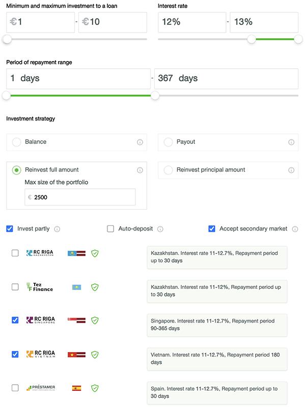 robocash auto invest settings
